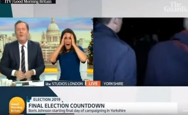 Boris Johnson fleeing the interview - coward