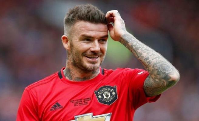 David Beckham poses with Danish landsholdslegende