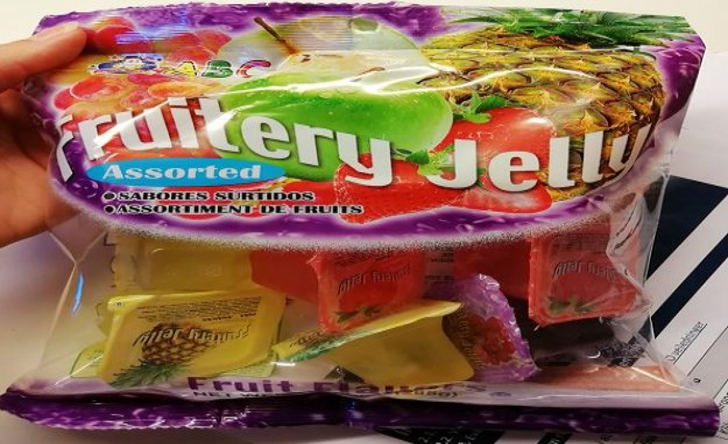 Warning, choking hazard: warning-consumption of jelly