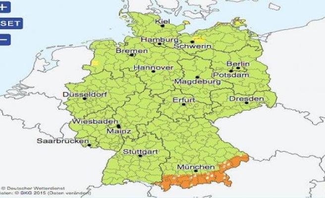 The German weather service warns of rain