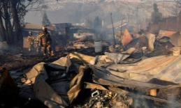 Fires threatens chilean city: Residents flee in the...