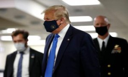 Trump is wearing for the first time, the mouth-nose protection in the Public