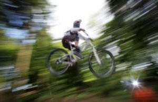 Spitzingsee, Bavaria, Germany: mountain bikers get...