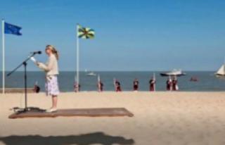 The beach photo shows a unlaubliche Illusion: hurts...