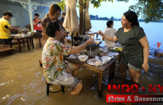 At flooded restaurant near Bangkok, the special is...
