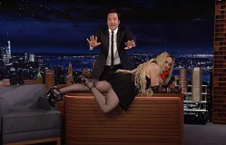 Madonna Stuns Jimmy Fallon when she crawls on his...