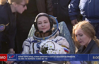 Russian filmmakers land on the space station after shooting